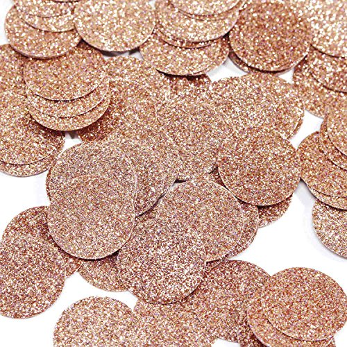Andaz Press Rose Gold Champagne Copper Real Glitter Confetti, 1-inch Double-Sided, 100-Pack