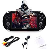 """Loyalfire Handheld Game Console, Game Player with 4.3"""" 64-bit LED Lights 4GB System Portable Video Games, Supports Multiple File Formats, for Birthday Presents Kids Children (Black)"""