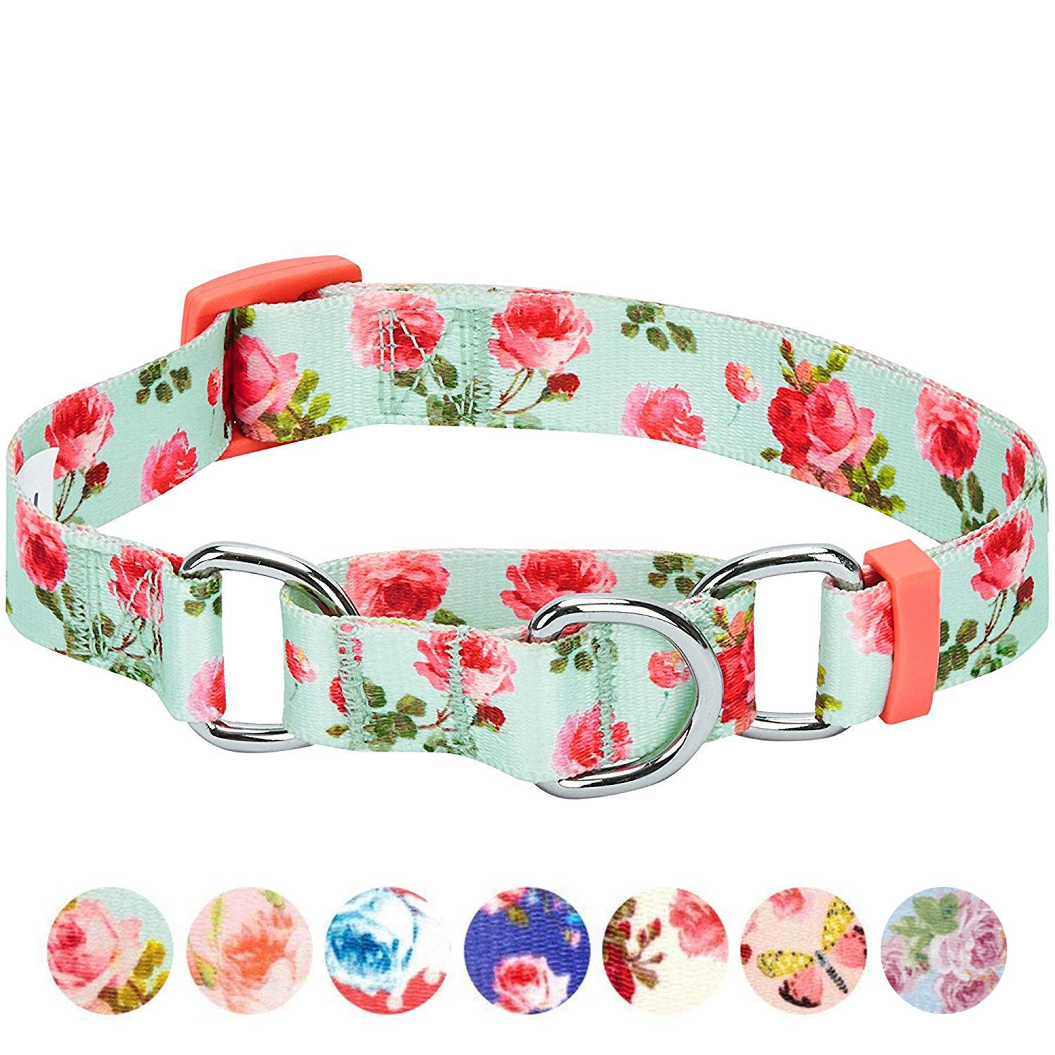 Blueberry Pet 6 Patterns Spring Scent Inspired Rose Print Safety Training Martingale Dog Collar, Turquoise, Medium, Heavy Duty Adjustable Collars for Dogs