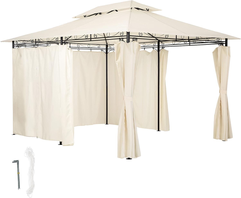 TecTake Carpa pabellón Tienda para Eventos y Fiestas de Jardin 3x4 m Incl.Paneles Laterales (Crema | no. 402459): Amazon.es: Jardín