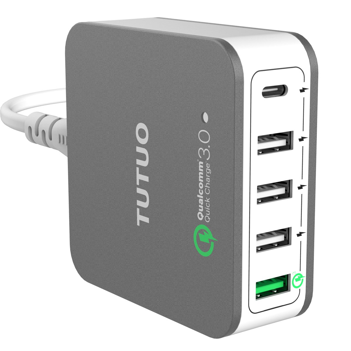 TUTUO USB Charger 40W Type C + Quick Charge 3.0 Desktop Travel Wall 5 Ports Power Adapter Fast Charging Station for Galaxy S8 S7, iPhone X 8 Plus, iPad Pro 10.5, Huawei Mate10, Oneplus 5 (White)