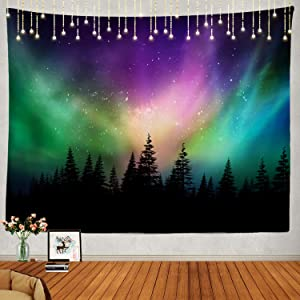 Shrahala Northern Lights Tapestry, Northern Lights Aurora Borealis Wall Hanging Large Tapestry Psychedelic Tapestry Decorations Bedroom Living Room Dorm(51.2 x 59.1 Inches, Grey)