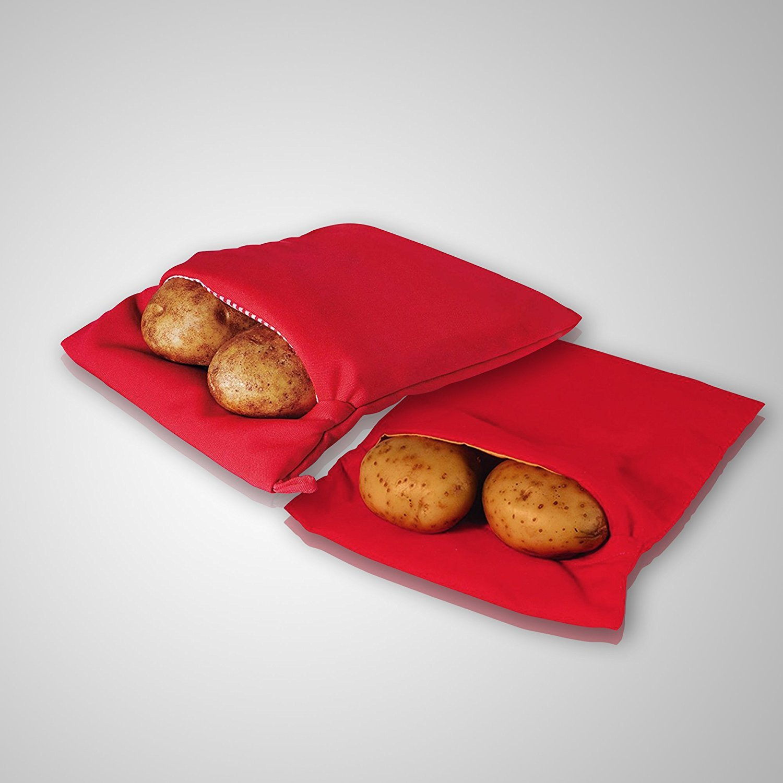 2-Pack Reusable Potato Baking Bags, Quick Microwave Potato Bag, Bake Express Potato and Corn on the Cob in Minutes