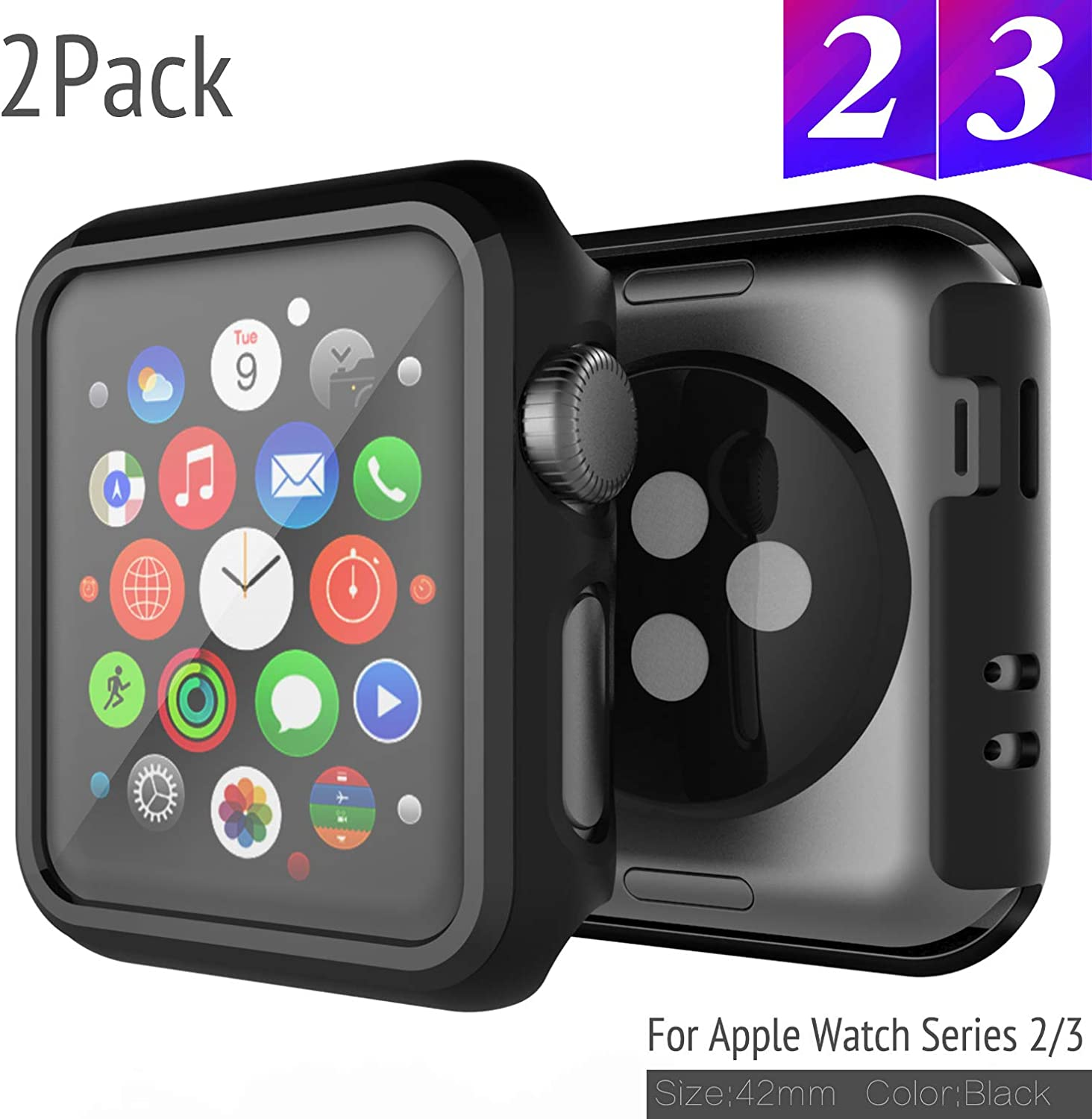 2 Pack Bumper for Apple Watch Case 42mm Series 3 Series 2 Anti-Scratch Shockproof Ultra-Thin Hard iWatch Protector for Apple Watch Cover 42mm Series 3/2