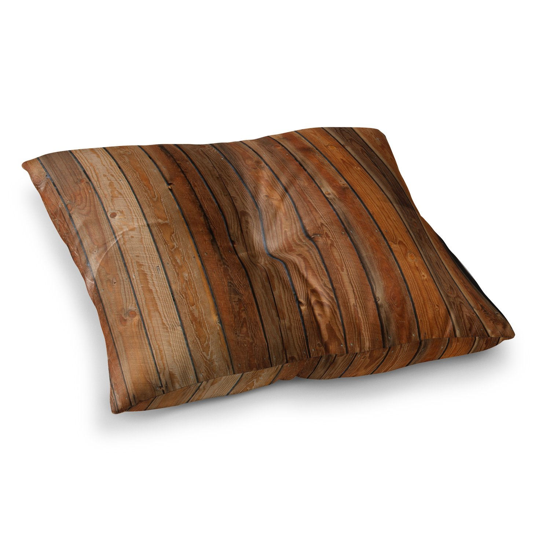 KESS InHouse Susan Sanders Rustic Wood Wall Nature Brown Square Floor Pillow x 26''