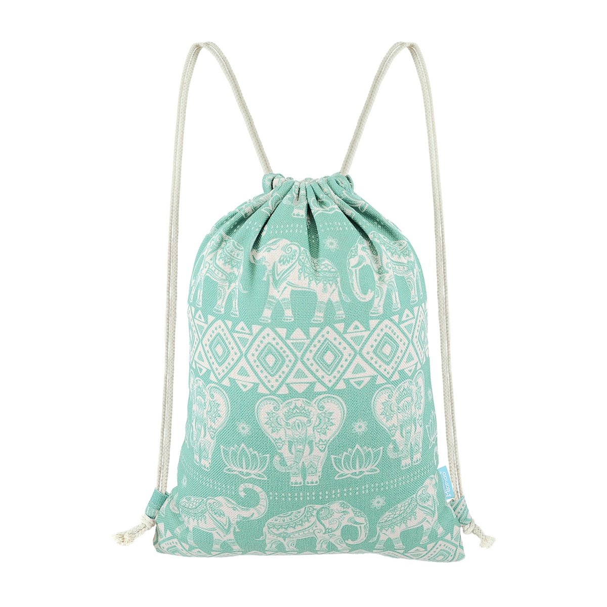 Miomao Gym Sackpack Drawstring Backpack Elephant Cinch Pack Geometric Sinch Sack With Pockets Sport String Bag Yoga Daypack Beach Gift Bag For Men & Women 13 X 18 Inches Fair Aqua