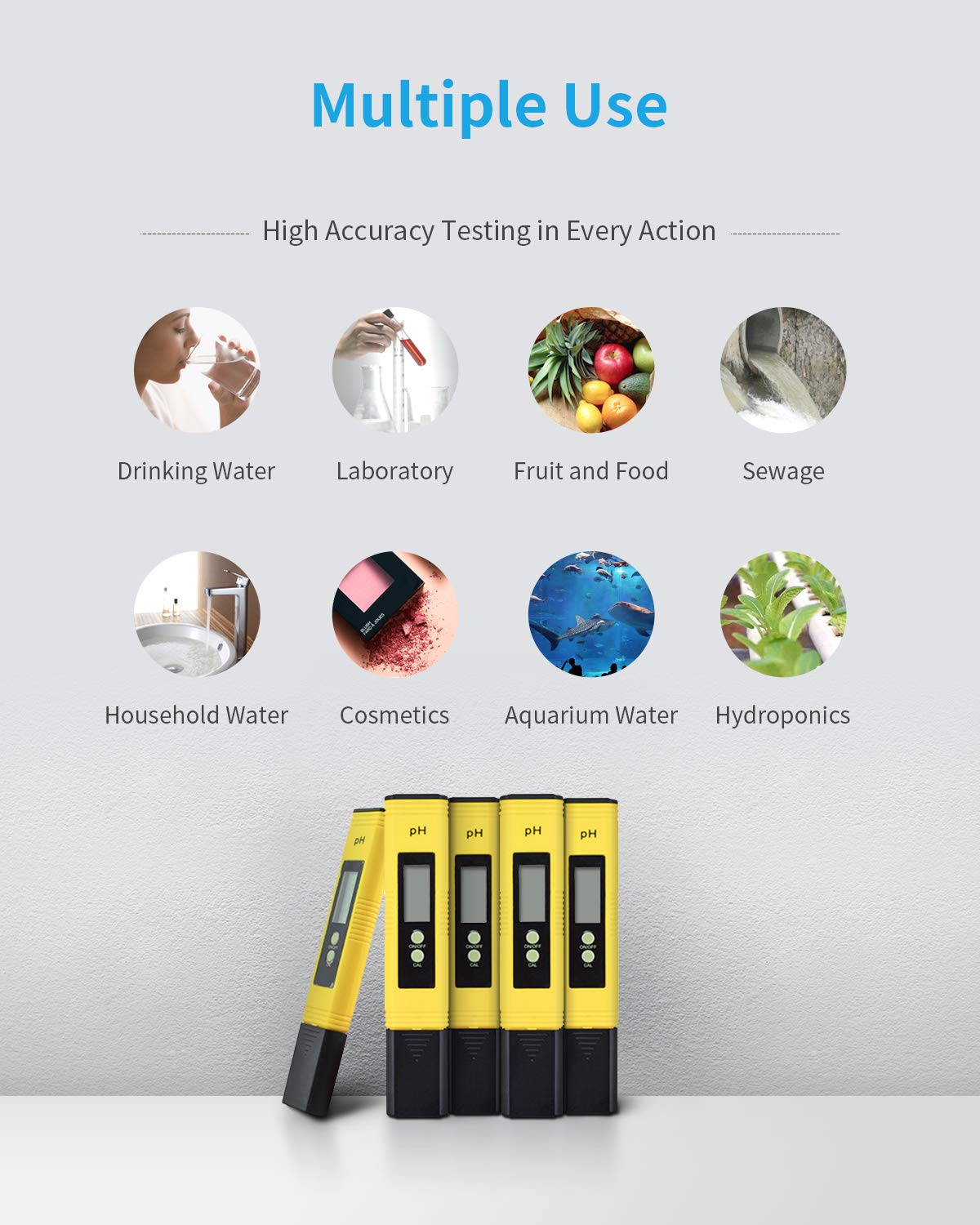 SPIE Digital pH Meter Swimming Pools etc Pocket-Sized Water Quality Tester with LCD Display and ATC pH 0-14 Measurement Range for Household Drinking Water pH Meter pH 0.01 Resolution Aquarium