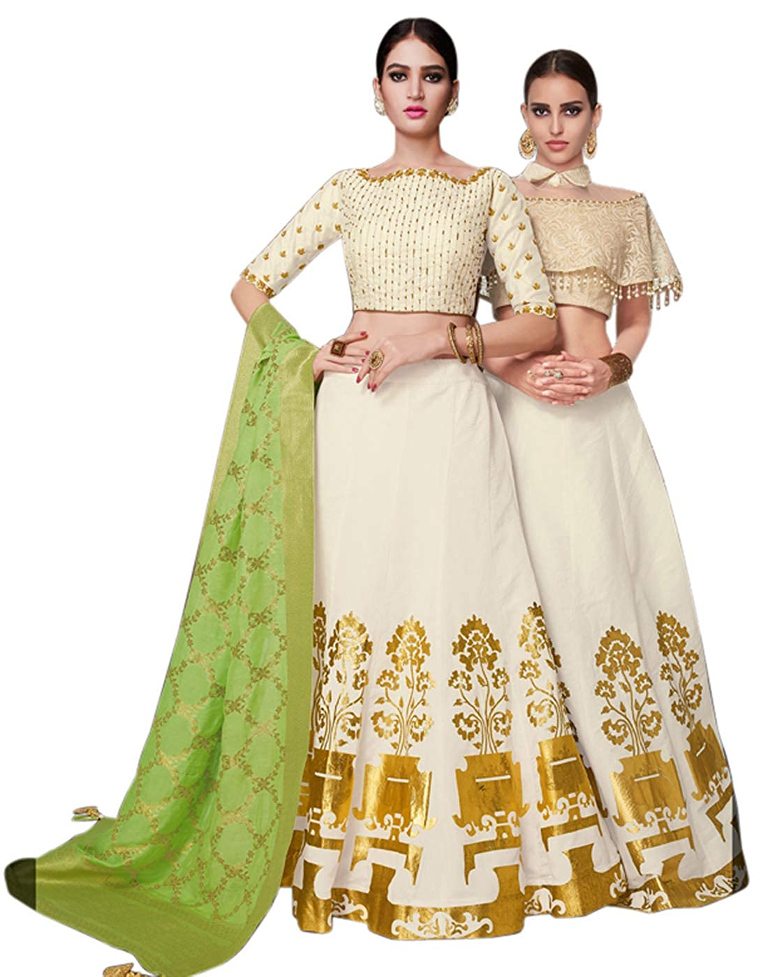 DesiButik's Wedding Wear Magnificent White Tussar Silk Lehenga With 2 Cholis and Dupatta