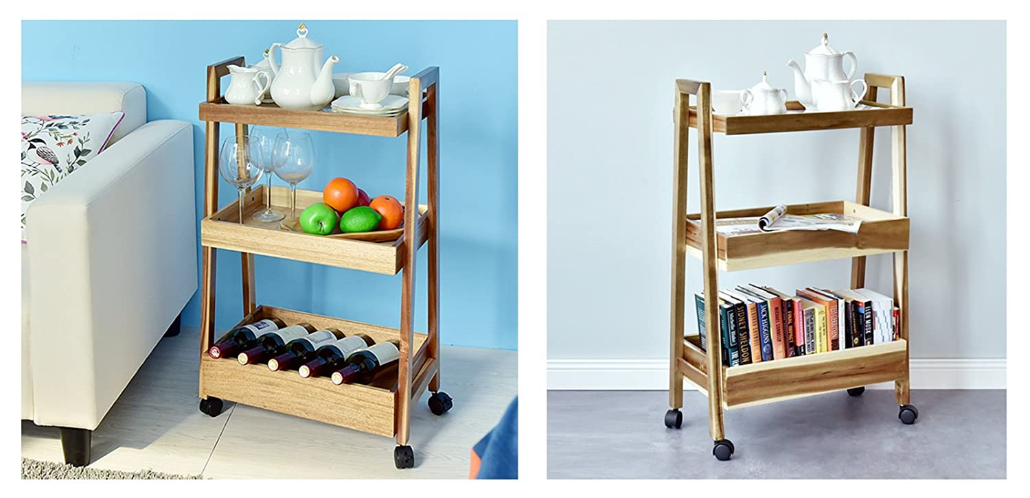 Amazon.com : WELLAND 3-tier Wood Rolling Cart Kitchen Utility Cart ...