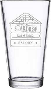 Stardrop Saloon Rustic Bar Food Game Parody Sign Logo - Laser Engraved Pint Glasses for Beer, 16 oz Stein