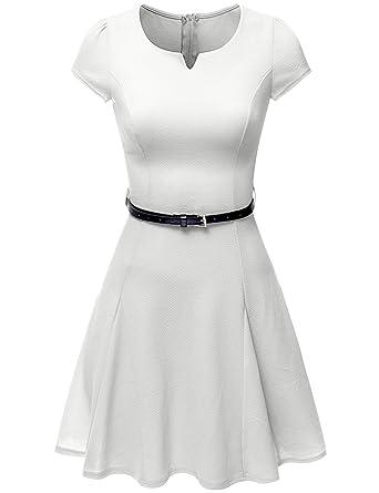 d930e8e45e7 Doublju uk Taylor Dresses Printed A-line Plus-Size silhouette Flare Dress  White 3XL  Amazon.co.uk  Clothing