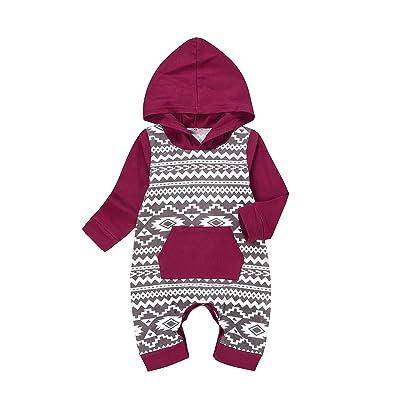 Arleysh Newborn Baby Boys Girls Geometric Jumpsuit Hoodie Romper Outfit with Kangaroo Pocket