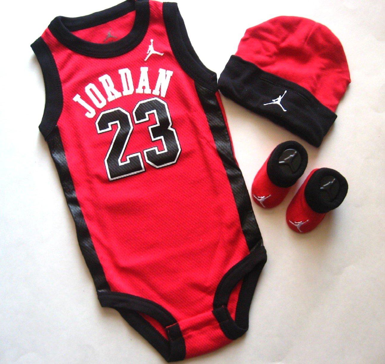 8d933e9c96bc Amazon.com  Jordan Nike Jumpman 23 Infant 3 Piece Set Bodysuit Cap Booties
