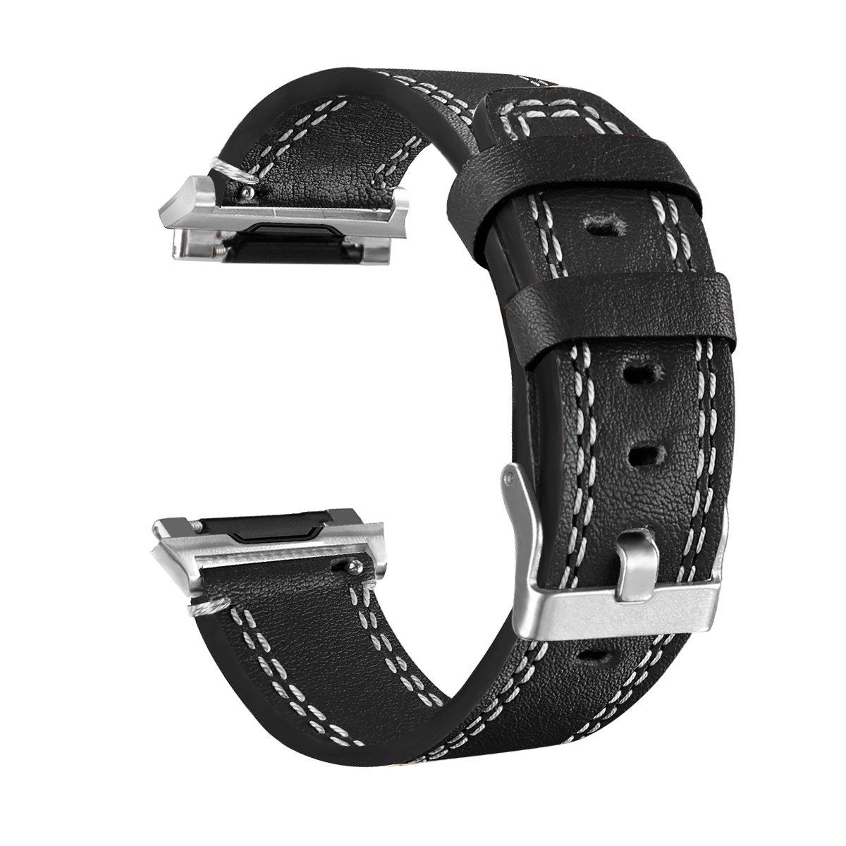 Fitbit Ionicスマートウォッチバンド、J & D [クラシックシリーズ]本革交換用ストラップ手首バンドfor Fitbit Ionic Fitbit Ionic watch Band  ブラック B076MF74K4