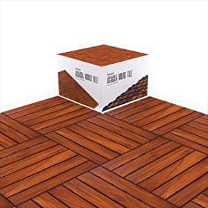 """Acacia Wood Flooring Tile Wooden Interlocking Floor Tiles with UV Protection Oiled Finish Snap Lock for Outdoor Decking Patio Deck Shower Balcony Backyard 12"""" x 12"""" Hardwood Boards Pack of 10"""