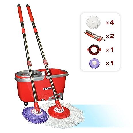 panda premium effortless wring spin mop and bucket set 2 mop rods 4 mop