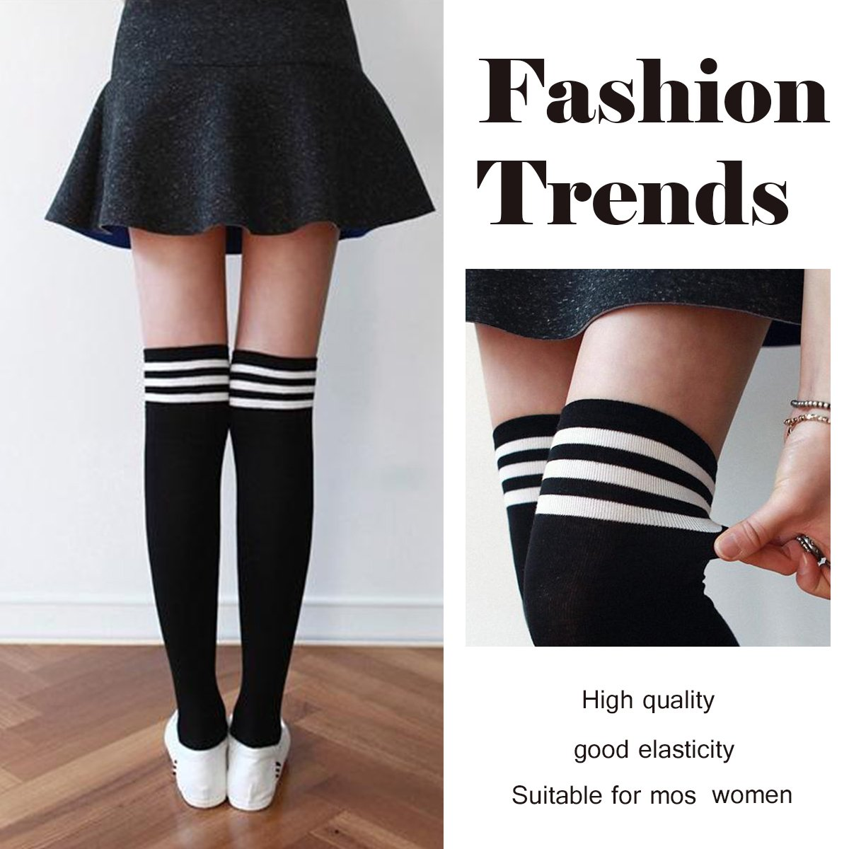 e5d6f0854ed Amazon.com  Womens Stripe Thigh High Socks - Leg Warmer Dresses Over Knee  High Stockings Cosplay Socks  Clothing