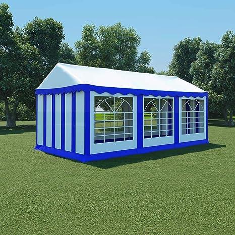 Zora Walter Carpa de jardín de PVC 3x6 m Azul y Blanco Toldo ...