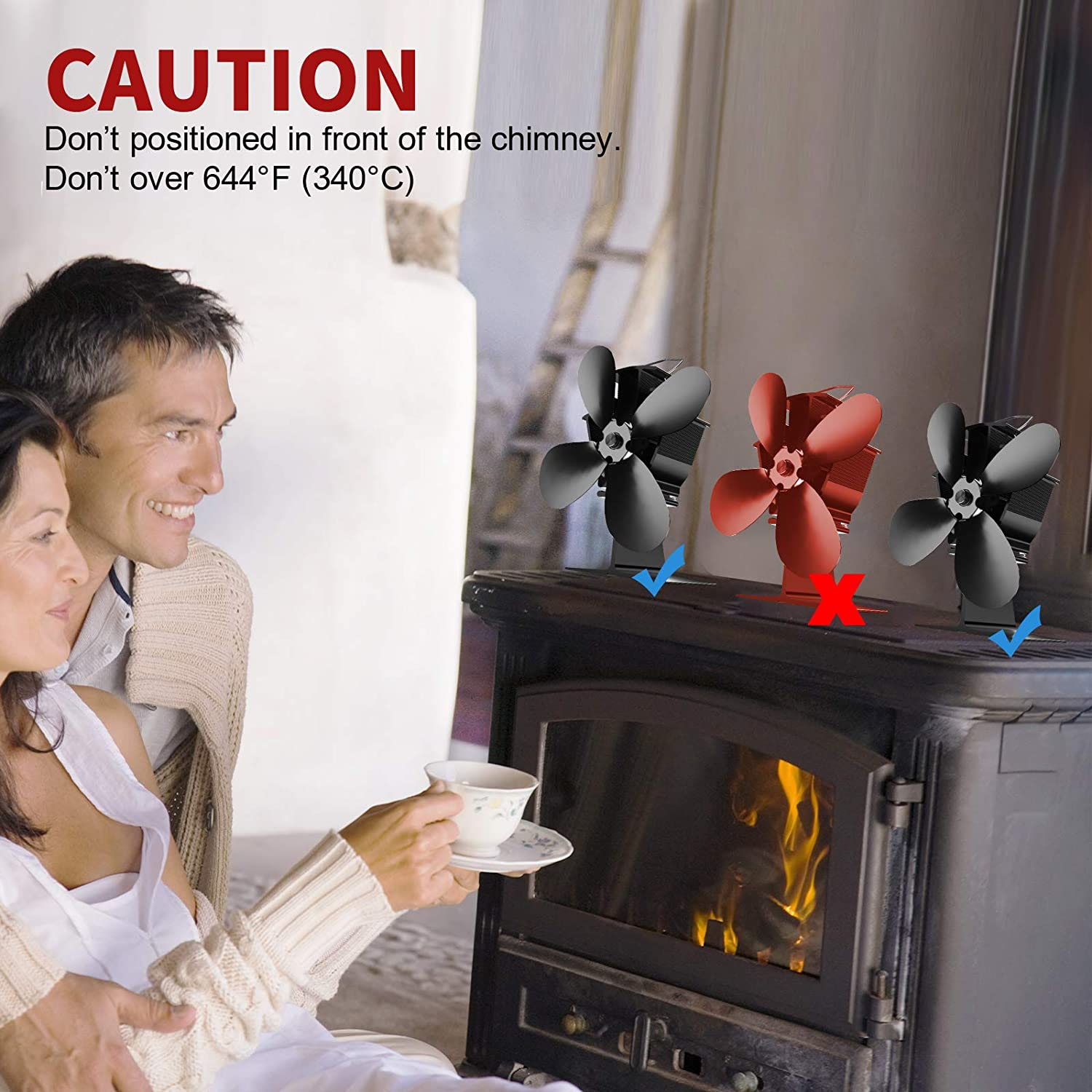 Energy Class A +++ Quieter and Efficient Small Wood Stove Fan 40/°C Quick Start Fireplace Fan Black Heat Driven Chimney Fan with 4 Blades for Wood//Log Burner//Fireplace YoTek Heat Powered Stove Fan