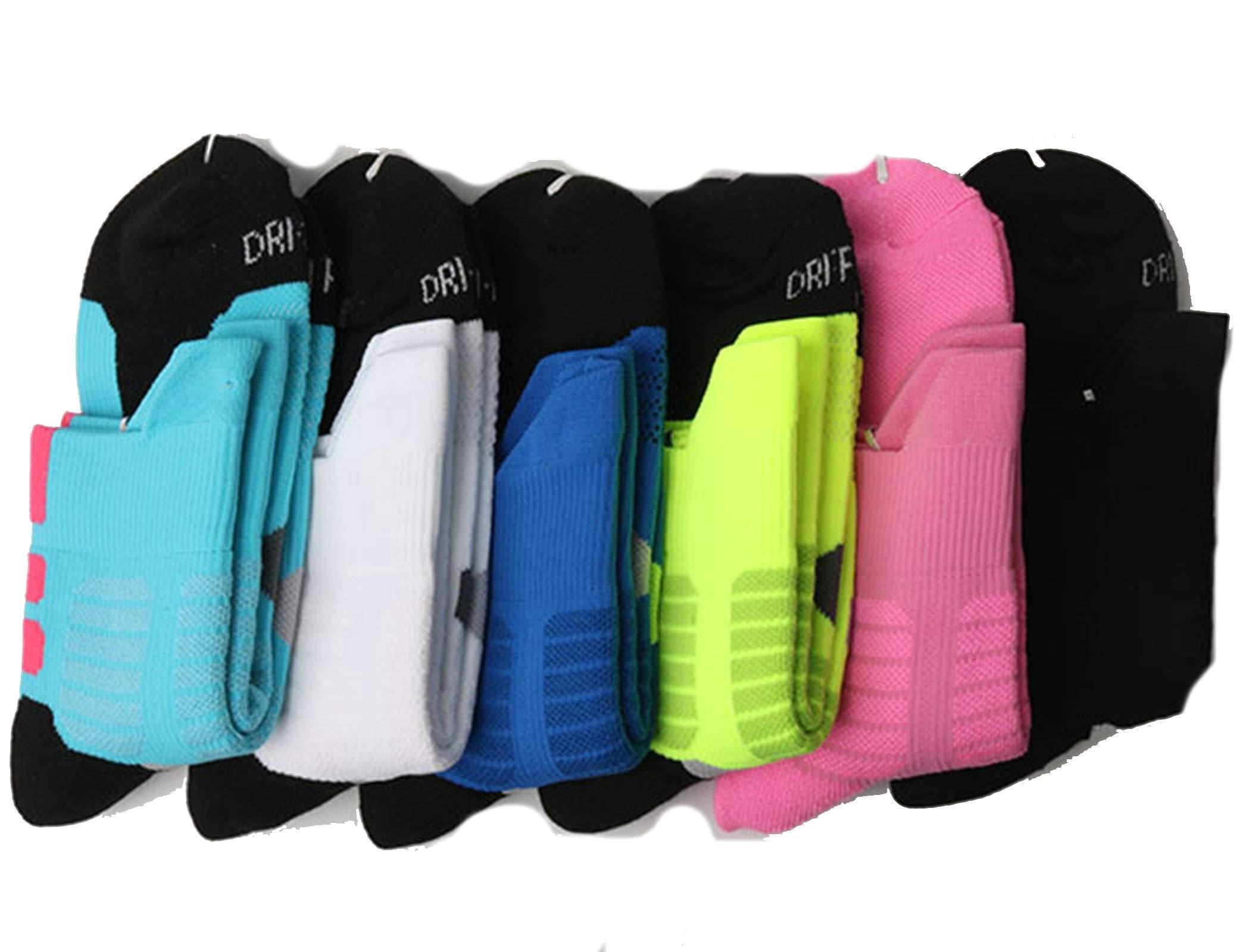 And Line Thick Towel Bottom Basketball Socks Medium-Length Sports Socks 6Pair