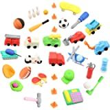Awesome Mega 25 Set of Vehicle & Sports puzzle Erasers - Fun Realistic Japanese Style erasers Including Emergency Vehicles - Best for Party Favors & Incentives For Kids & School