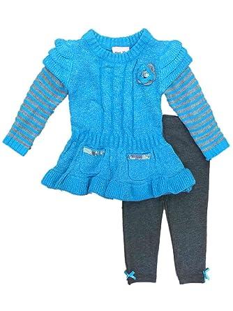 70e18cb41 Little Lass Infant & Toddler Girls Outfit Metallic Blue Stripe Sweater & Leggings  Set 18m