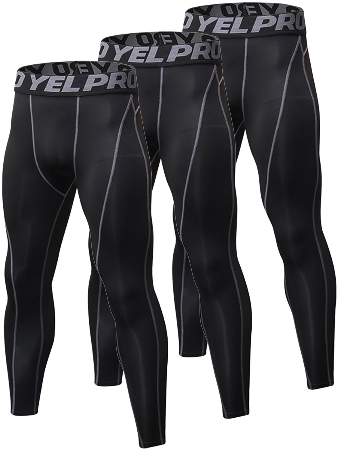 Yuerlian 3 Pack Mens Compression Leggings Cool Dry Sport Pants Running Gym Tights (01-Black Gray*3, UK M)