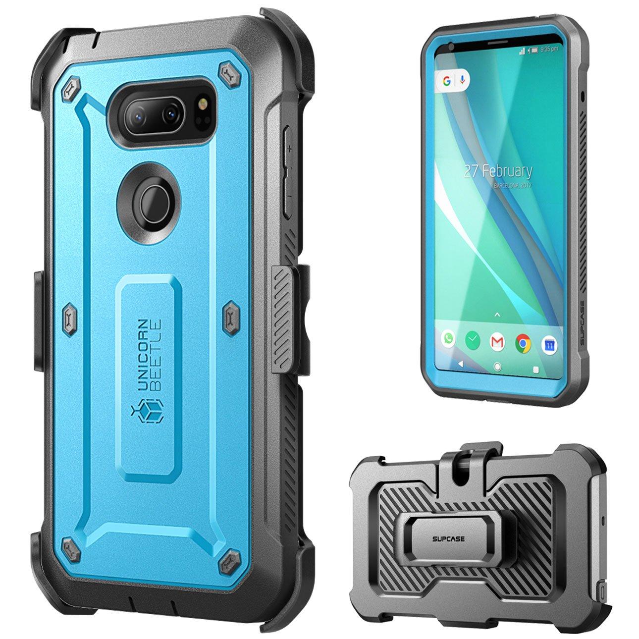 LG V30 Case, SUPCASE Full-body Rugged Holster Case with Built-in Screen Protector for LG V30, LG V30s,LG V35,LG V35 ThinQ,LG V30 Plus 2017 Release, Unicorn Beetle PRO Series(Blue/Gray) by SUPCASE (Image #2)