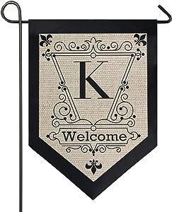 Oarencol Vintage Monogram Letter K Welcome Fleur De Lis Flower Garden Flag Double Sided Home Yard Decor Banner Outdoor 12.5 x 18 Inch