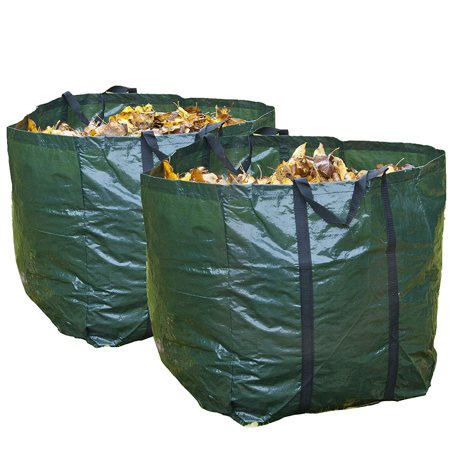 GLOW Set of 2 Heavy Duty Garden Waste Bags with Carry Handles – Large Reusable Premium Double Stitched 150L Collapsible Folding Lightweight Outdoor Home and Garden Collection Bin Sack for Refuse Rubbish Leaves Soil Grass Weeds Cuttings Plants Flowers – UV