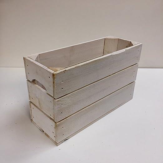 Caja Madera 3 listones blanca 1/2 altura: Amazon.es: Hogar