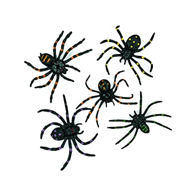 Stretchable Spiders (12 pieces) Halloween Party Supplies, Spooky & Fun Gag Gifts, Seasonal Home Decor: Toys & Games