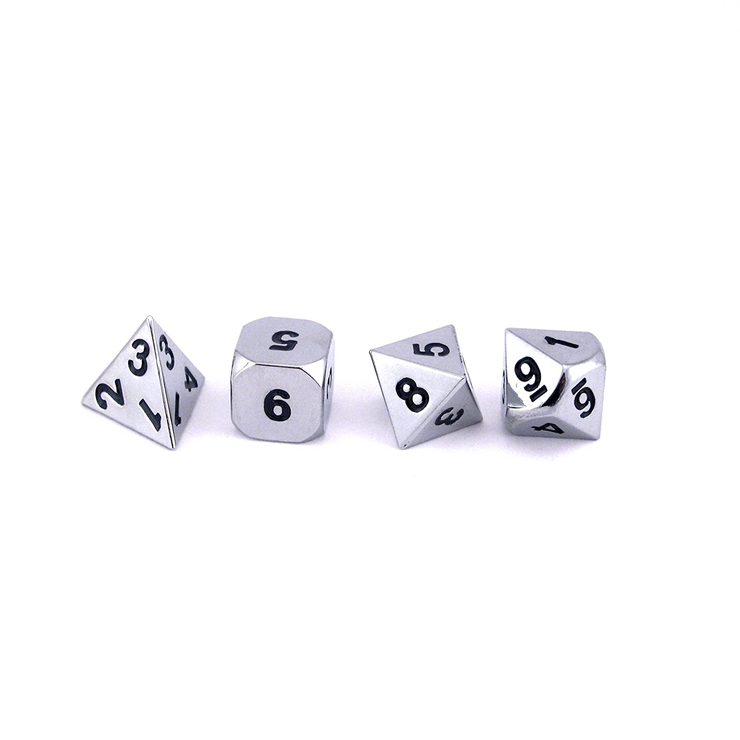 Solid Metal Chrome Silver 7pc Polyhedral Dice Set RPG D20 D/&D Pathfinder
