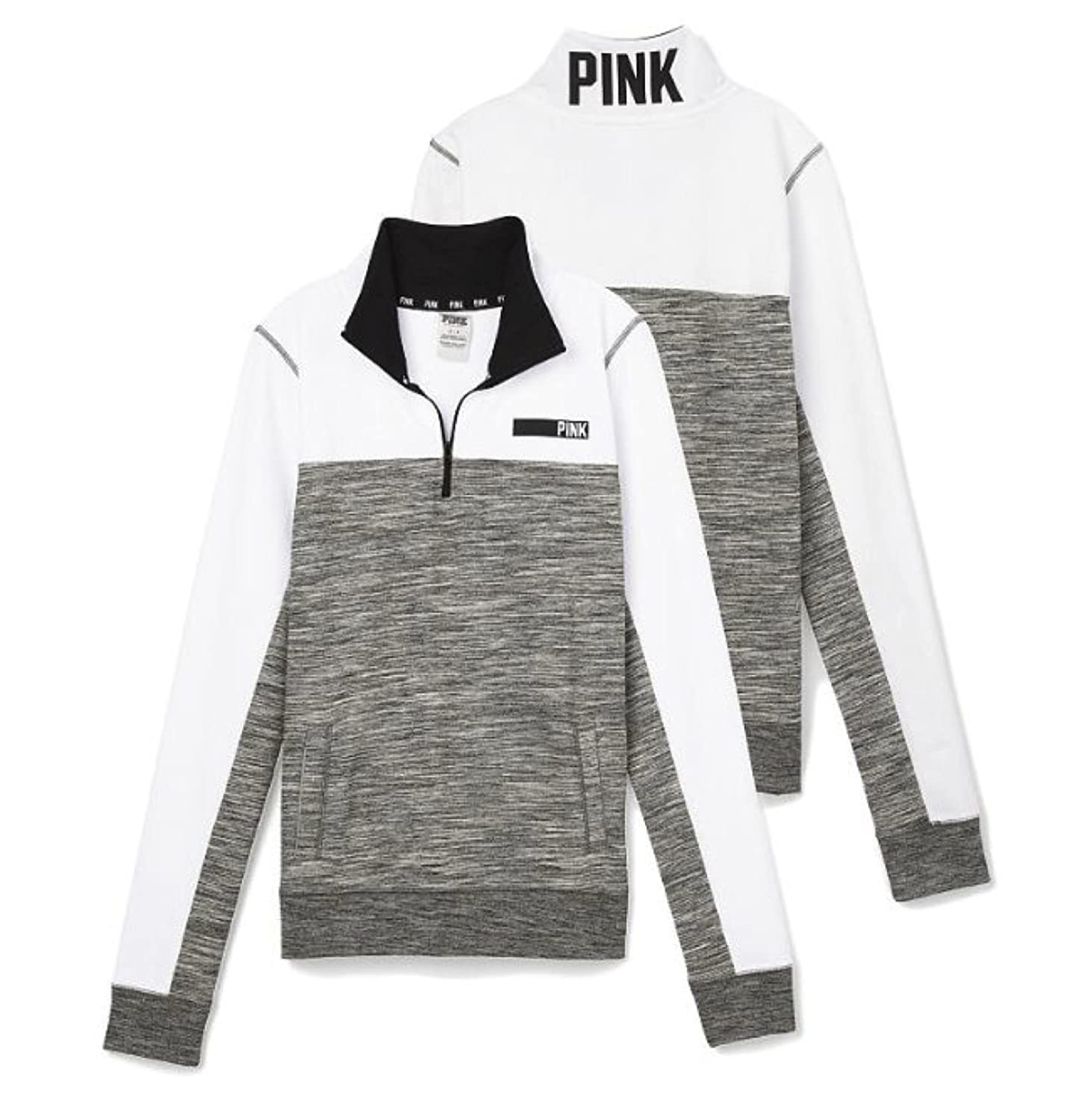 Victoria's Secret Pink Half Zip Jacket Sweatshirt Small Gray Marl ...
