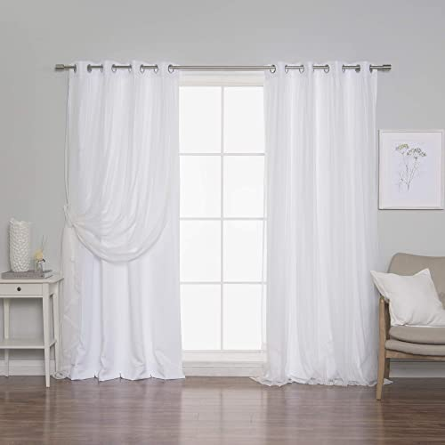 Best Home Fashion Lace Tulle Overlay Solid Privacy Curtains – Stainless Steel Nickel Grommet Top – White – 52 W x 108 L – Set of 2 Panels