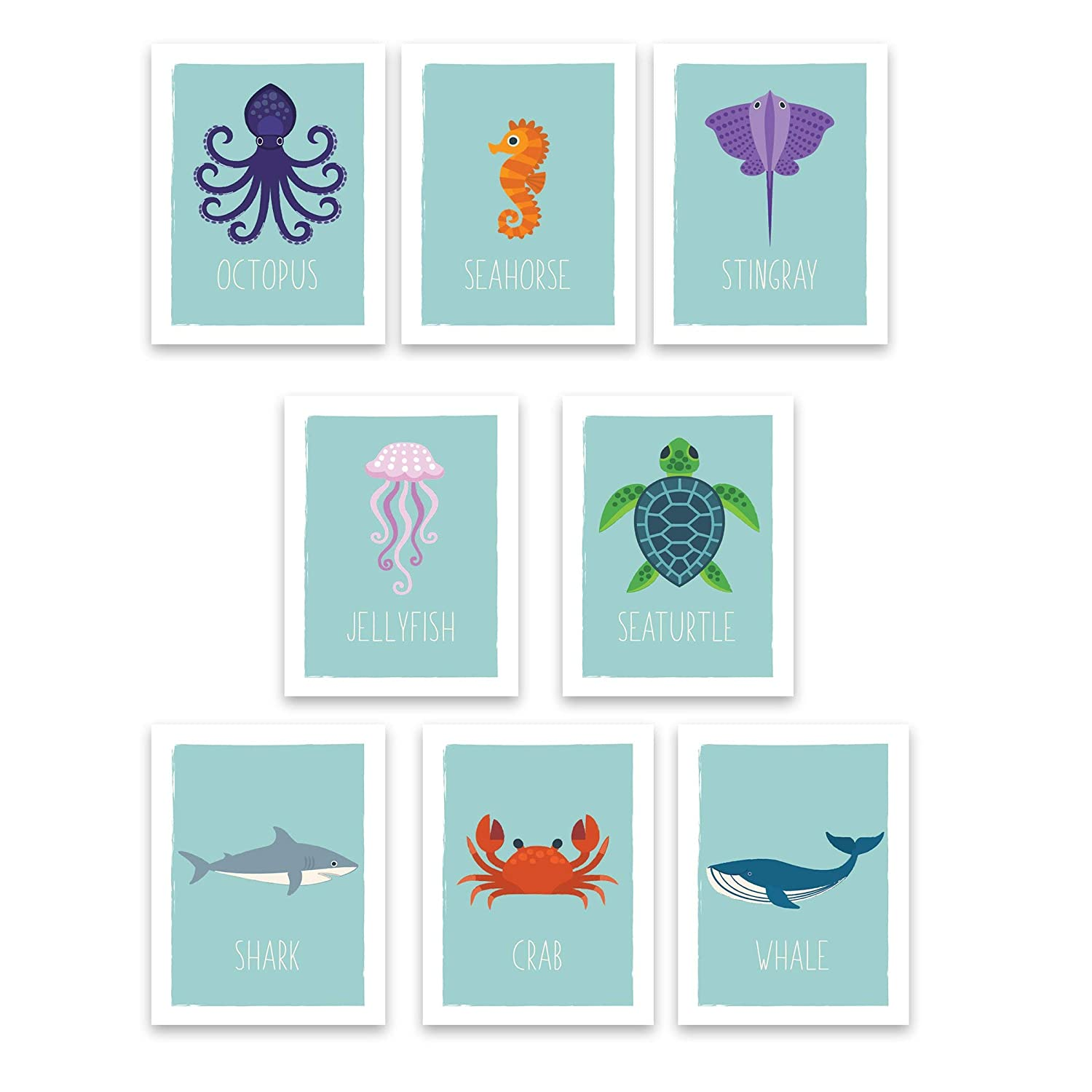"Ocean Animals Wall Cards | Nautical Nursery Room Decor | Kids Educational Marine Art | Perfect Toddler or Baby Shower Gift | Set of Eight 5x7"" Prints for Classrooms, Daycare and Playrooms"