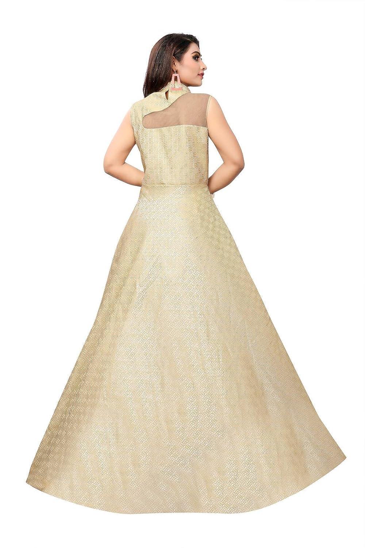 b75744fb3a412b Gunjfashion Women' Silk Long Gown (Yellow, Large): Amazon.in: Clothing &  Accessories