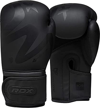 Black PU Unisex Boxing Gloves Punch Bag Training MMA Muay Thai Fight Sparring