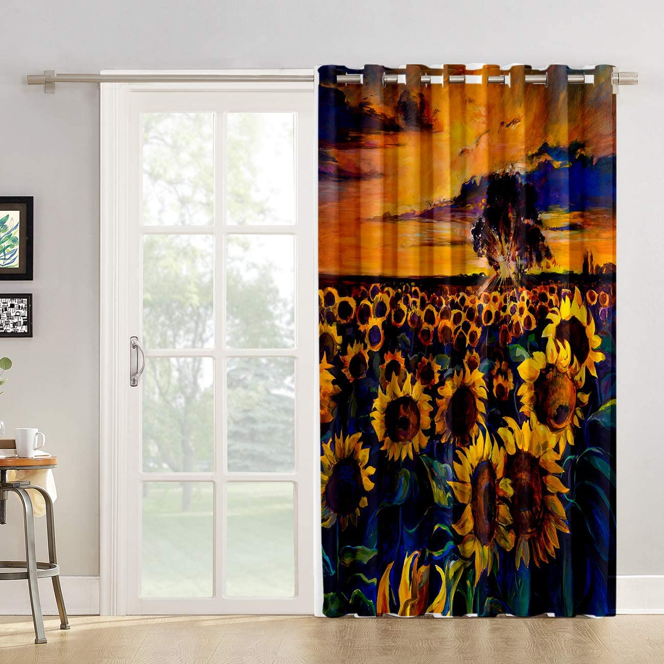 Amazon Com Kitchen Tier Curtains 63 Inch Length Chic Window Drapes Panel For Living Room Bedroom Sunflower Draperies Painting Style Park Patterned Fabric Curtain Sliding Glass Door Patio Home