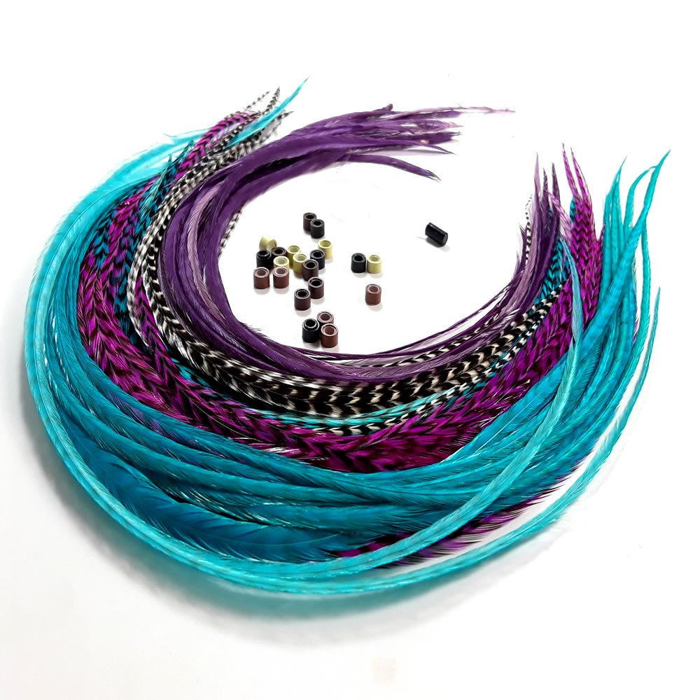 Feather Hair Extensions, 100% Real Rooster Feathers, Long Violet, Purple, Blue Colors, 20 Feathers with 20 Beads and Loop Tool Kit by Sexy Sparkles