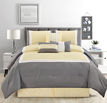 7 Piece Sunshine Yellow/Grey/White Color Block Bed in A Bag Microfiber  Comforter Set (Double) Full Size Bedding. Perfect for Any Bed Room or Guest  ...