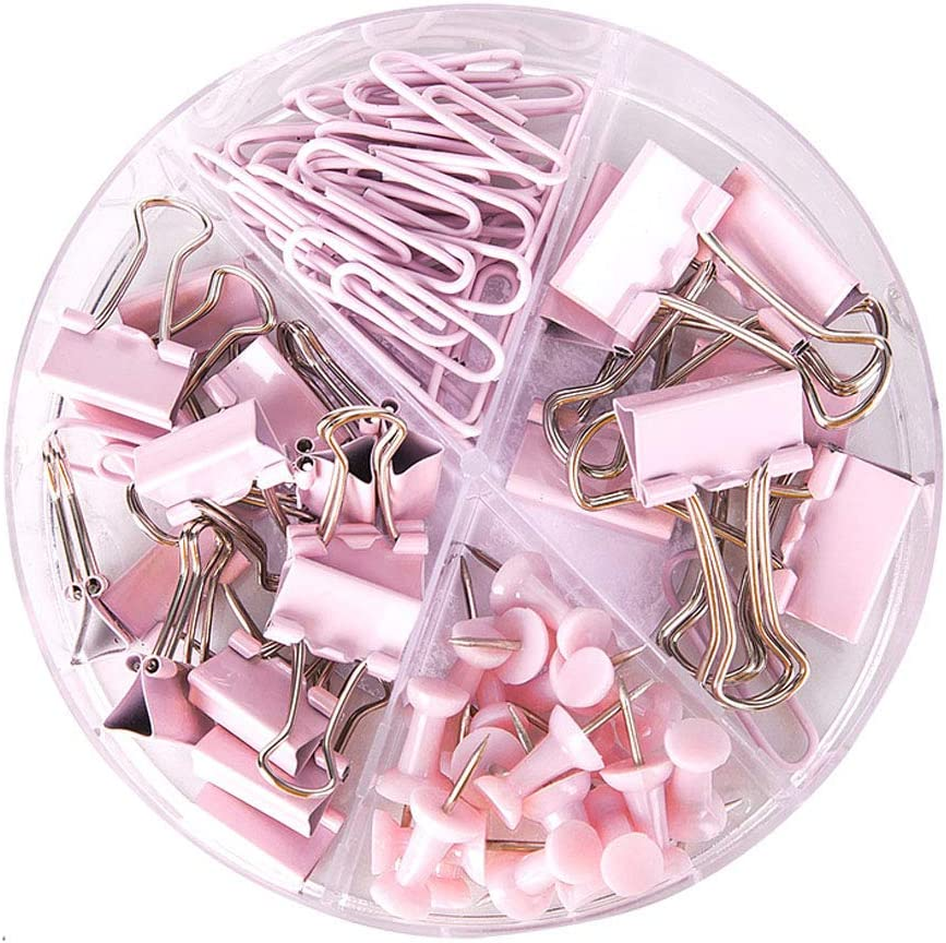 Paper Clips and Binder Clips Push Pins Set and Holder, Syitem Non-Skid Map Tacks Thumbtacks Clips Kits with Container for Office School Home Desk Supplies, 72 PCS Assorted Sizes (Pink)