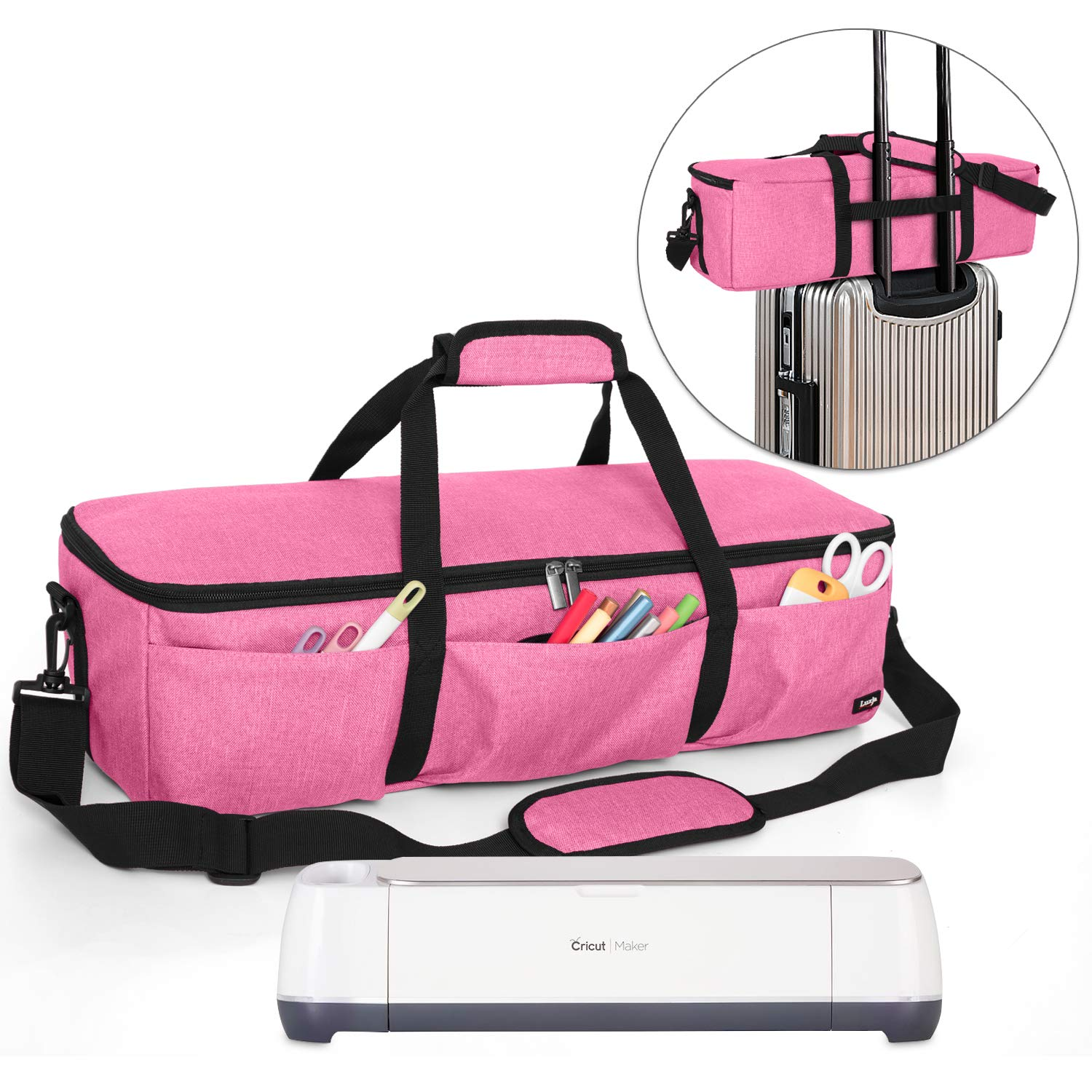 Luxja Foldable Bag Compatible with Cricut Explore Air and Maker, Carrying Bag Compatible with Cricut Explore Air and Supplies (Bag Only), Pink by LUXJA
