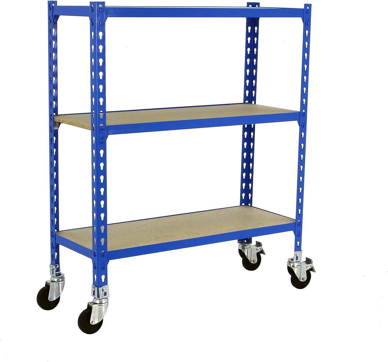 Estantería metálica sin tornillos con ruedas Maderclick de 3 estantes Azul/Madera Simonrack 900x1100x400 mms - Estantería con madera - Estantería trastero - 90 Kgs de capacidad por estante