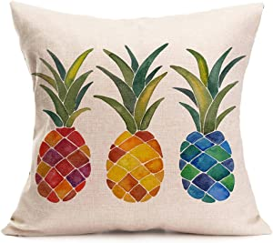 Aremazing Tropical Hawaiian Pineapple Cotton Linen Home Decor Pillowcase Throw Pillow Cushion Cover 18 x 18 Inches (Colorful Pineapple)