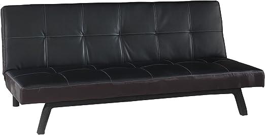 Comforium Canape Clic Clac En Simili Cuir Coloris Noir
