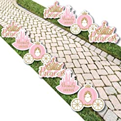 Little Princess Crown - Tiara, Castle & Carriage Lawn Decorations - Outdoor Pink and Gold Princess Baby Shower or Birthday Party Yard Decorations - 10 Piece