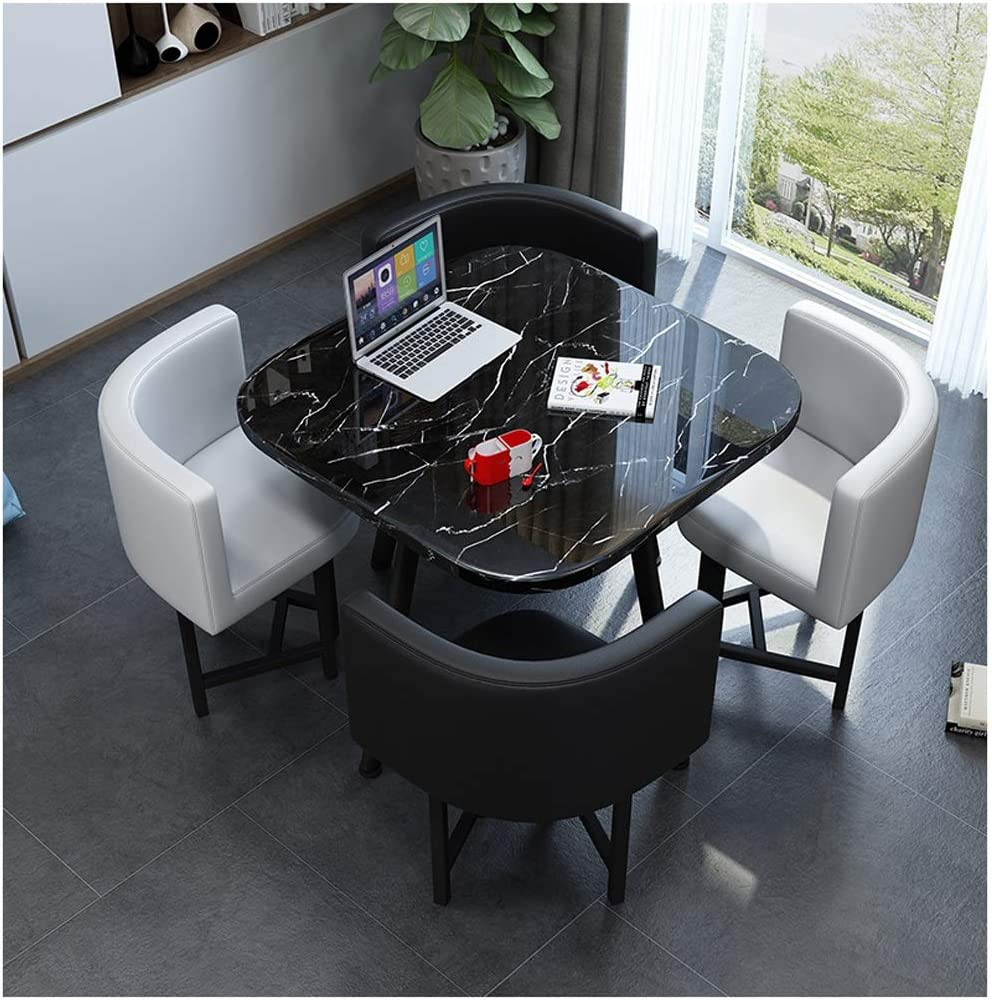Conference Room Reception Table Marble Table and Chair Combination Living Room Kitchen Dining Table Modern Design Leisure Table Office Lounge Hotel Coffee Shop Dessert Shop Library 1 Table 4 Chairs