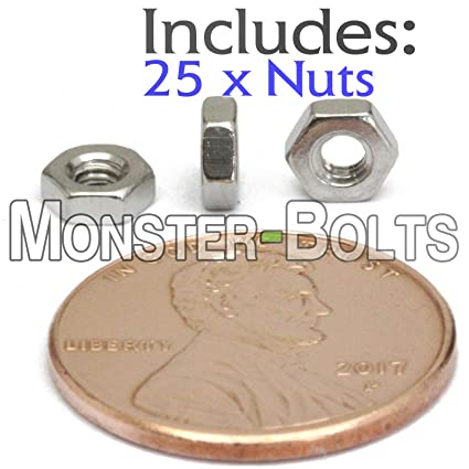 Amazon com: (25) M2 5 - 0 45 Metric Stainless Steel Hex Nuts DIN 934