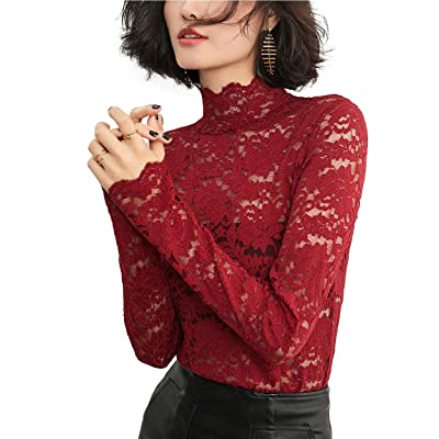 ABEAUTY Women See-Through Lace Shirt Underwear Sexy Long Sleeves High Neck Top at Amazon Women's Clothing store